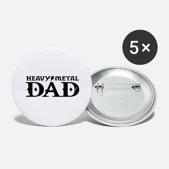 Rock Buttons & Anstecker - heavy metal dad papa - Buttons groß Weiß