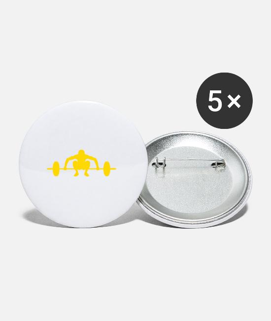 No Pain No Gain Buttons - Barbell yellow - Large Buttons white