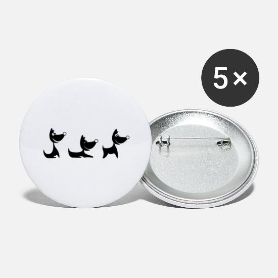 Hond Buttons - hond trio - Buttons groot wit