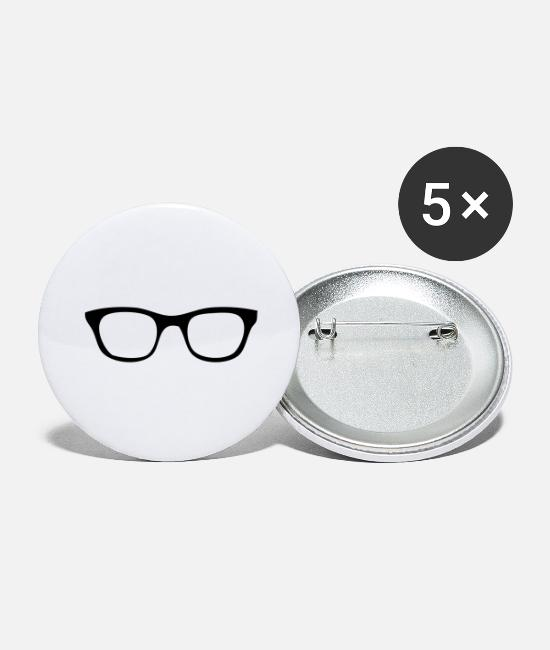 Hipster Buttons - Hip Glasses - Large Buttons white