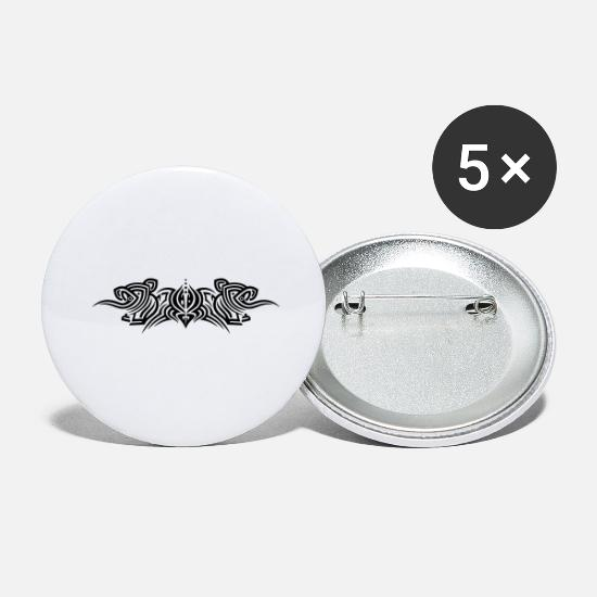 Symbol  Buttons - Filigree tribal tattoo ornament with elephants. - Large Buttons white