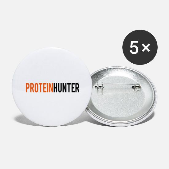 Muscular Buttons - protein Hunter - Large Buttons white