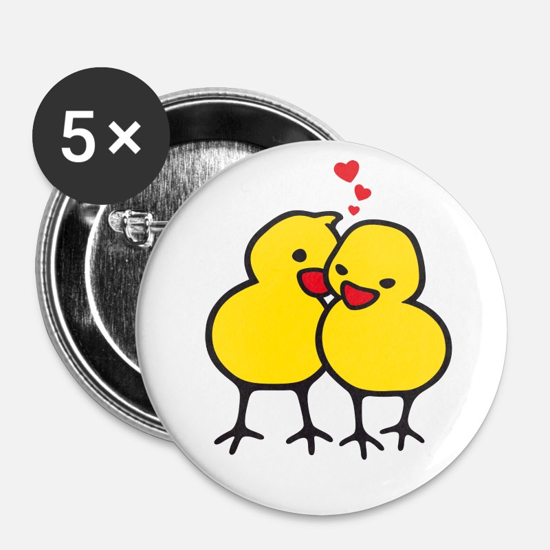 Poussin Badges - chicks in love (b) - Grands badges blanc
