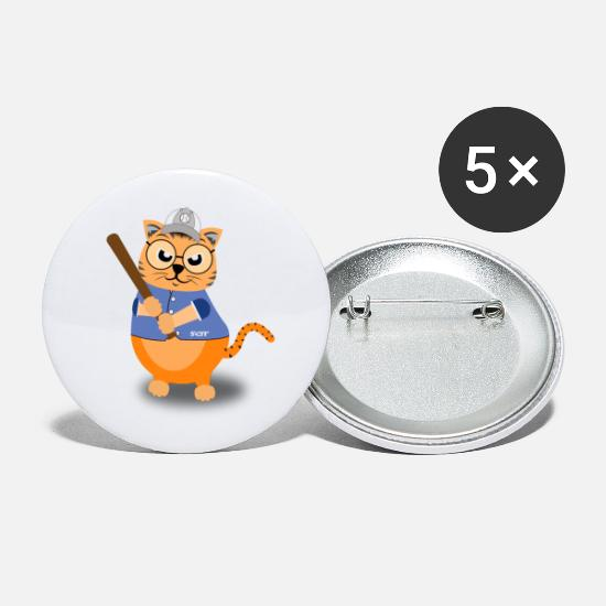 Catcheur Badges - Batte de baseball bat drôle chats motif cool - Grands badges blanc