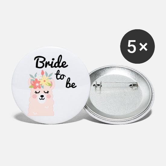 Bride Buttons - Bride to be Bride Alpaca Lama Alpaka JGA Party - Large Buttons white