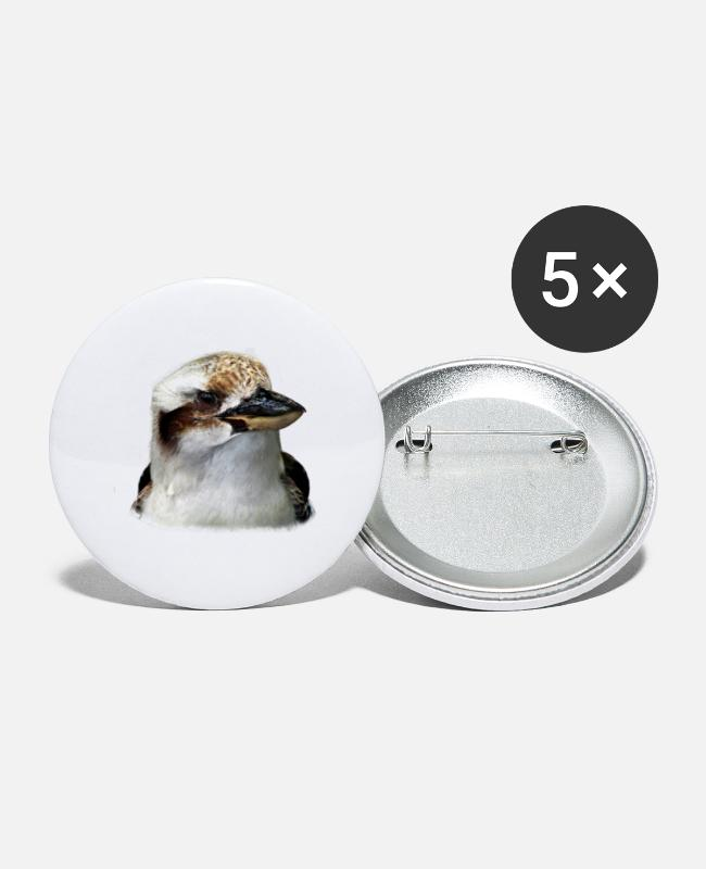 Christmas Buttons - Kookaburra Laughing Hans Bird Gift - Large Buttons white