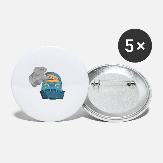 Gift Idea Buttons - Robot vintage - Large Buttons white