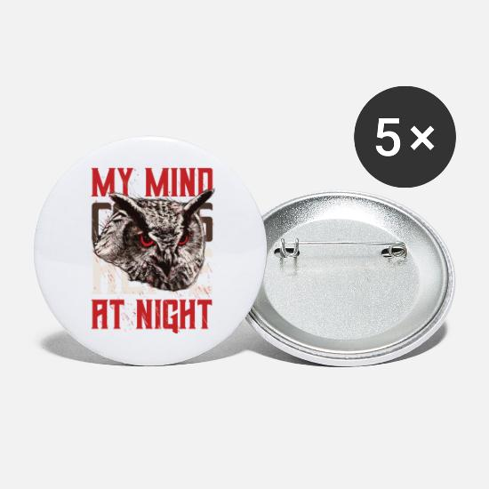 Nocturnal Buttons - Night owl nocturnal night owl night wake - Large Buttons white