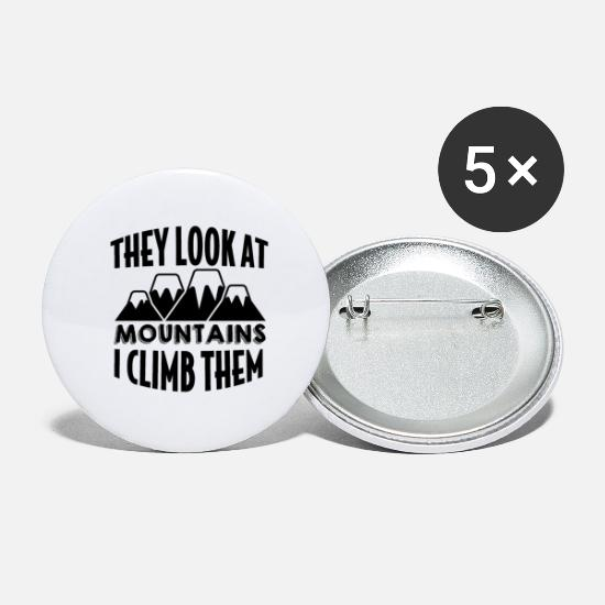 Alps Buttons - Mountains Mountains Climbing Mountaineering - Large Buttons white