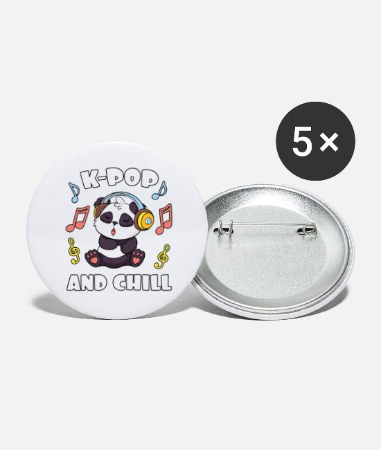 Panda Buttons - K-Pop And Chill - Large Buttons white