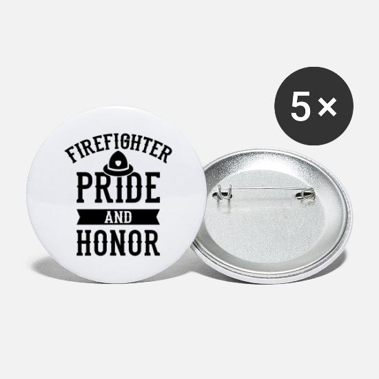 Fire Fighter Buttons - Volunteer firefighter firefighter - Large Buttons white