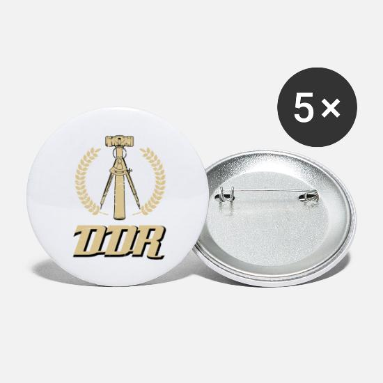 Nostalgia Buttons - GDR hammer and compass in retro style - Large Buttons white