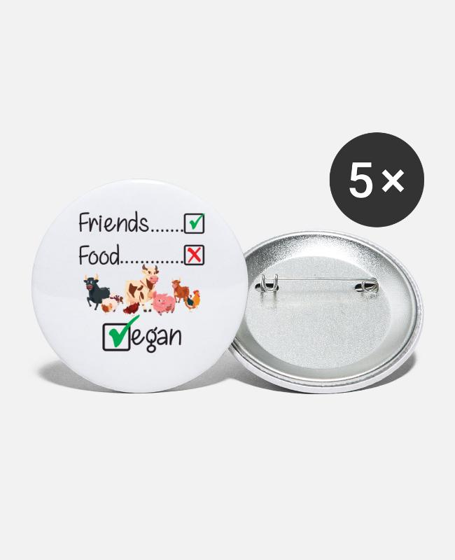 Vrienden Niet Eten Buttons - Friends Not Food Vegan Farm Animals Funny - Buttons groot wit