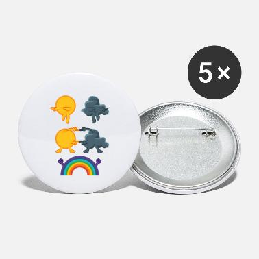Mergers Sun rain clouds rainbow - Large Buttons