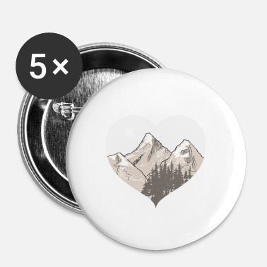 Love The Mountains, Heart Nature Hiking - Stor pin 56 mm