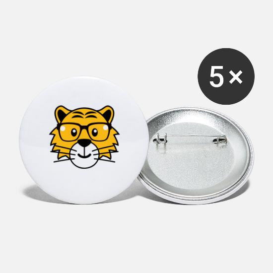 Cobra Buttons - Tiger glasses summer Funny pictures - Large Buttons white