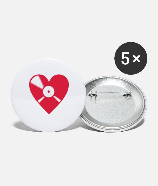 Rap Buttons - LOVE VINYL - Large Buttons white