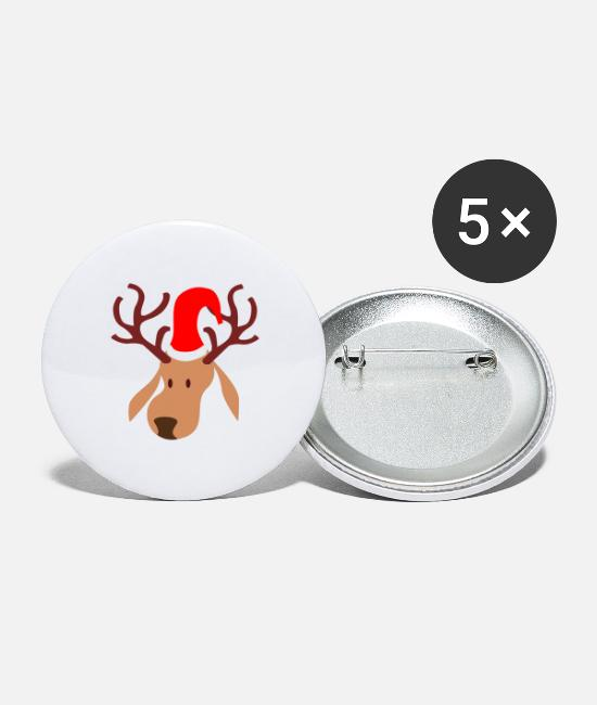 Holidays Buttons - Rudolf Reindeer - Large Buttons white