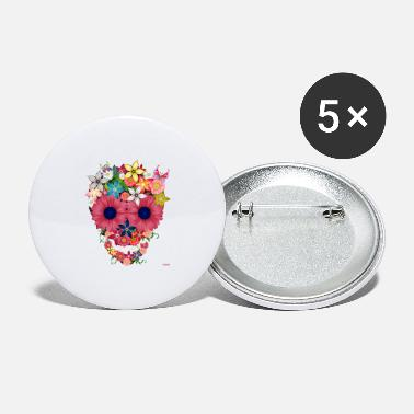 Wam skull flowers by wam - Large Buttons