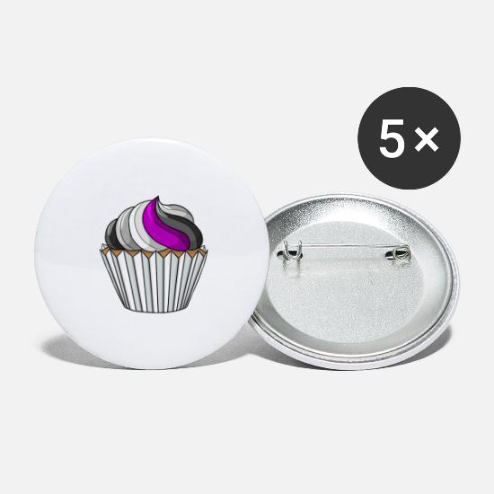 Gay Buttons - Asexual Pride Cupcake - Large Buttons white