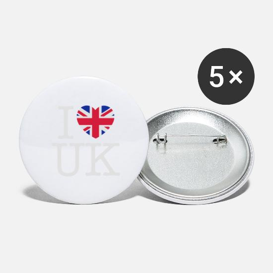 Love Buttons - I love UK (White) - Large Buttons white