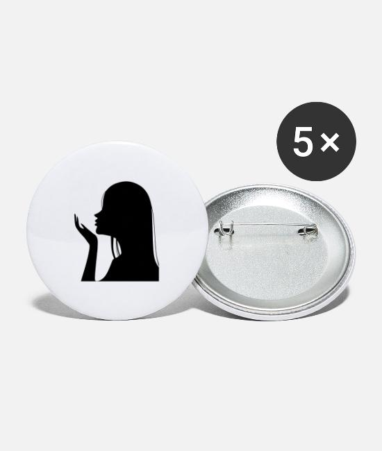 Illustration Buttons - kiss - Large Buttons white