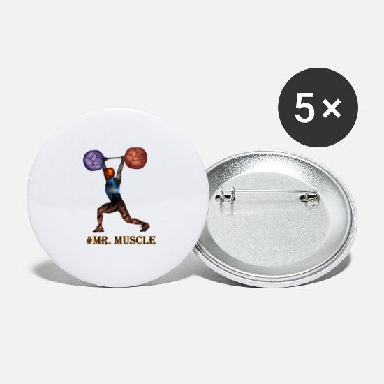 Strong Buttons - muscleman - Large Buttons white