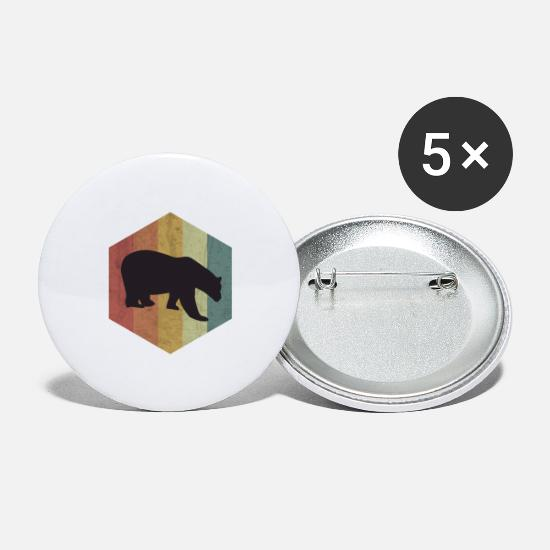 Bear Buttons - Bear brown bear bear polar bear polar bear gift - Large Buttons white