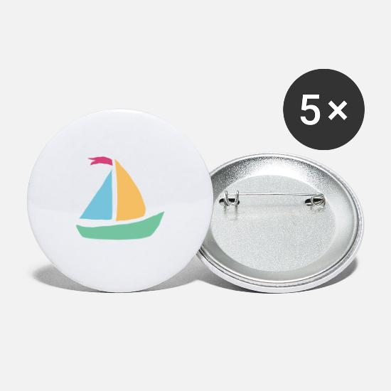Birthday Buttons - boat gift boat shipboat gift boat ship - Large Buttons white