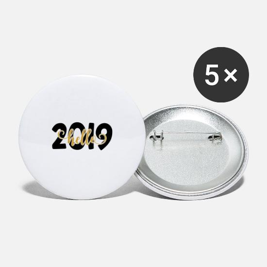 Birthday Buttons - Hello 2019 New Year Happy new year New Year's Eve - Large Buttons white