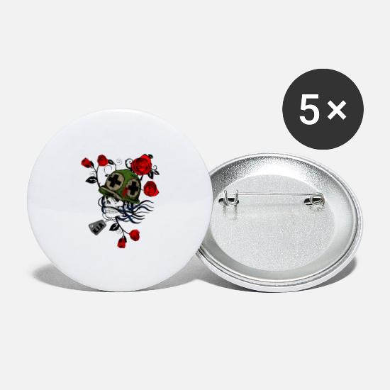 Death Buttons - Military Skull with Roses - Large Buttons white