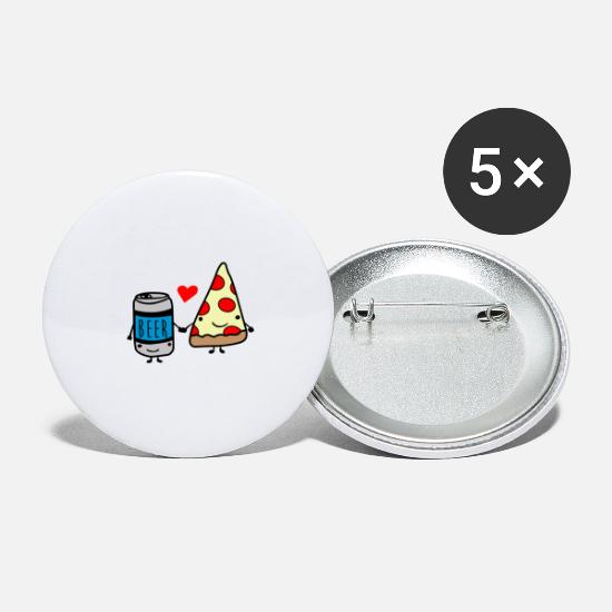 Pizza Buttons - Beer and pizza love to the death - Large Buttons white