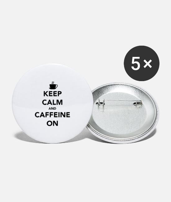 Office Buttons - Keep Calm and Caffeine On - Large Buttons white