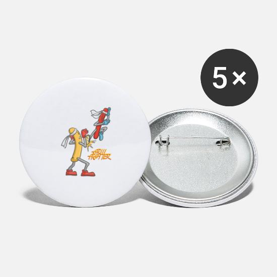 Birthday Buttons - Grill Fighter - Grill Fighter - Sausage - Large Buttons white