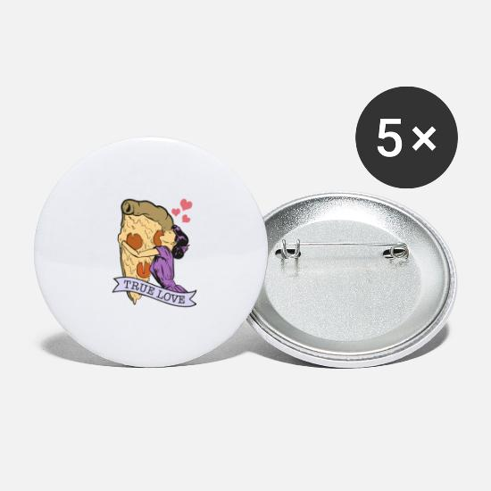 Love Buttons - Pizza. True love - Large Buttons white
