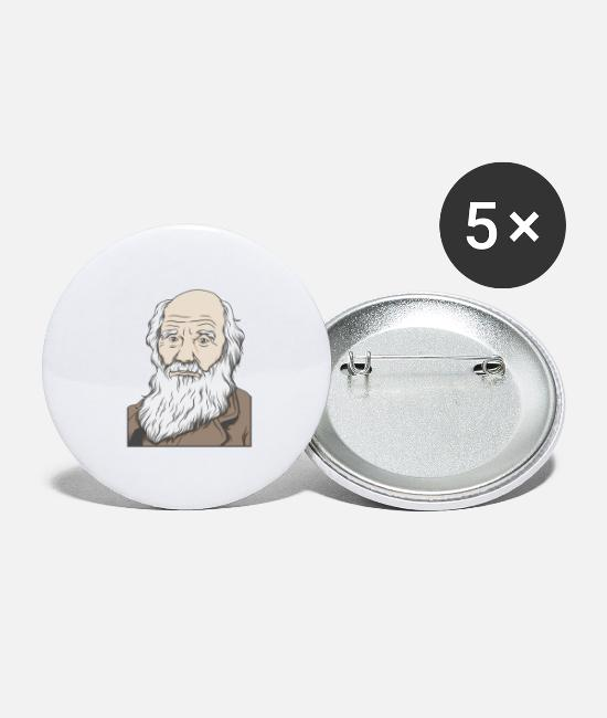 Gift Buttons - Charles Darwin Portrait Gift Evolution - Buttons groot wit