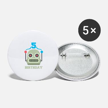 Birthday Party Kids birthday 5 year robot birthday party - Large Buttons