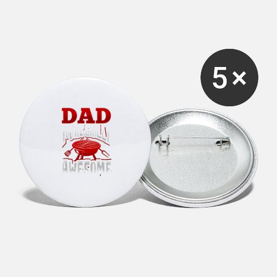 Birthday Buttons - Dad dad dad barbecue BBQ grilling gift saying - Large Buttons white