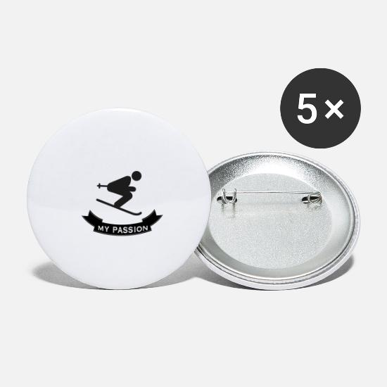 Ski Buttons - Passionate skiing - Large Buttons white