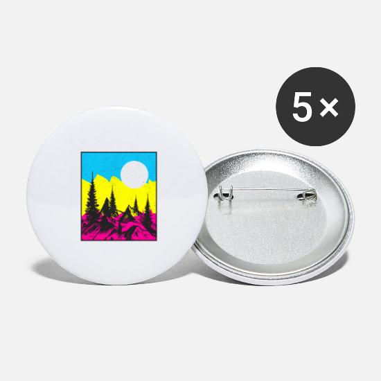 Camping Buttons - Landscape Color - Large Buttons white