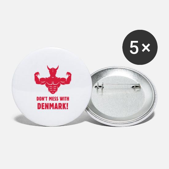 Danske Buttons - Don't Mess With Denmark! (Dane / Danish / Viking) - Large Buttons white