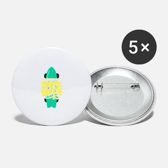 Gift Idea Buttons - FREESTYLE SKATEBOARDING - Large Buttons white