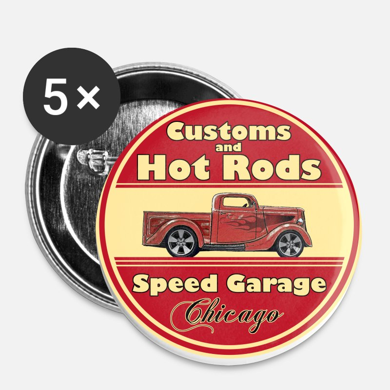 Logo Badges - Hot Rod (vintage logo) - Grands badges blanc