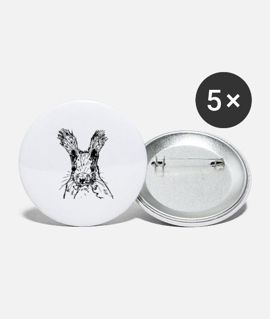 Nature Buttons - squirrel drawing - Large Buttons white