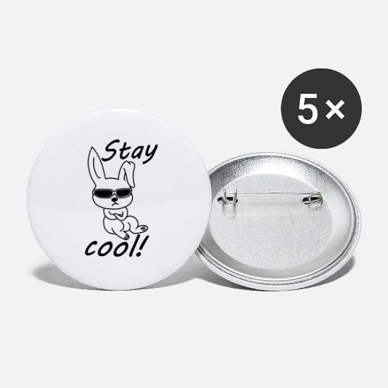 Coole Buttons & Anstecker - Cooler Hase Stay cool - Buttons groß Weiß