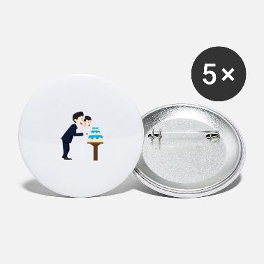 Wedding Couple Wedding marriage couple cake - Large Buttons