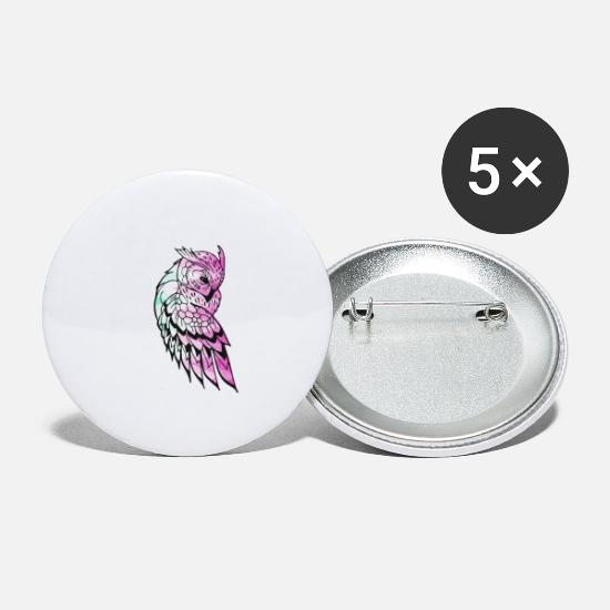 College Buttons - Owl Night - Large Buttons white