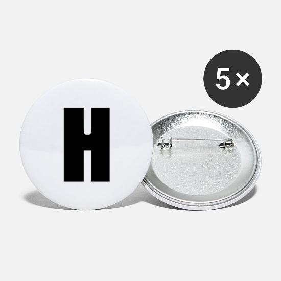 Birthday Buttons - H alphabet initial letter baby gift birth - Large Buttons white