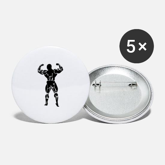 Body Builder Buttons - body building - Large Buttons white
