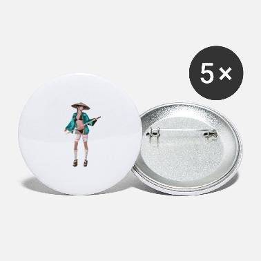 Long Stick Japanese woman with long stick, gift idea - Large Buttons